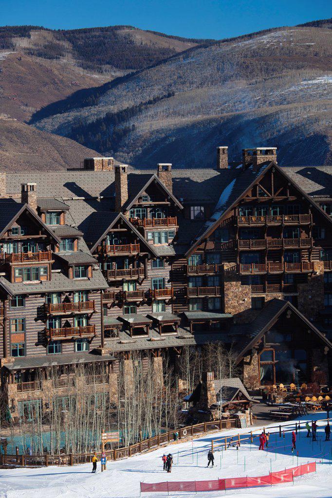 Stock Photo: 1566-1026982 USA, Colorado, Beaver Creek, Ritz Carlton Hotel, elevated view