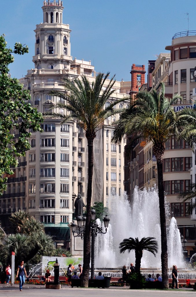 Valencia, Spain: Plaza del Ayuntamiento : Stock Photo