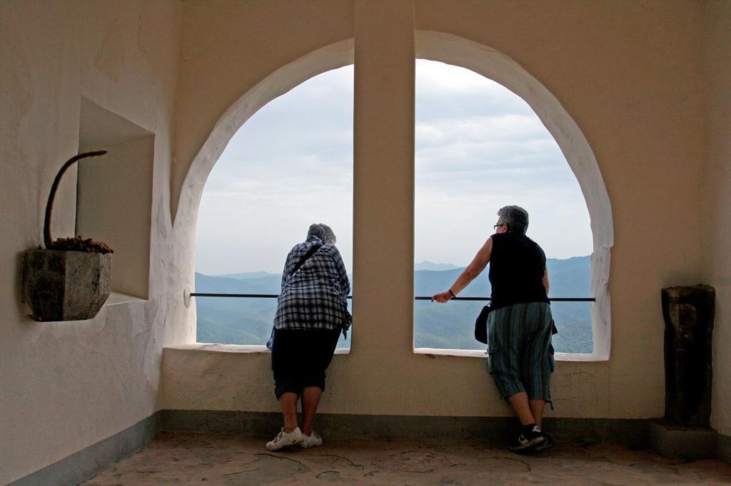 viewpoint, Sanctuary of Mare de Deu del Cos, La Garrotxa, Catalonia, Spain : Stock Photo