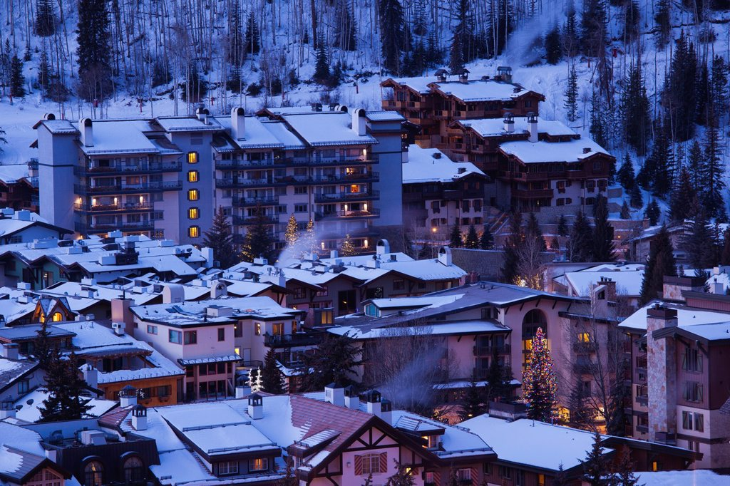 USA, Colorado, Vail, elevated town and resort view, dawn, winter : Stock Photo