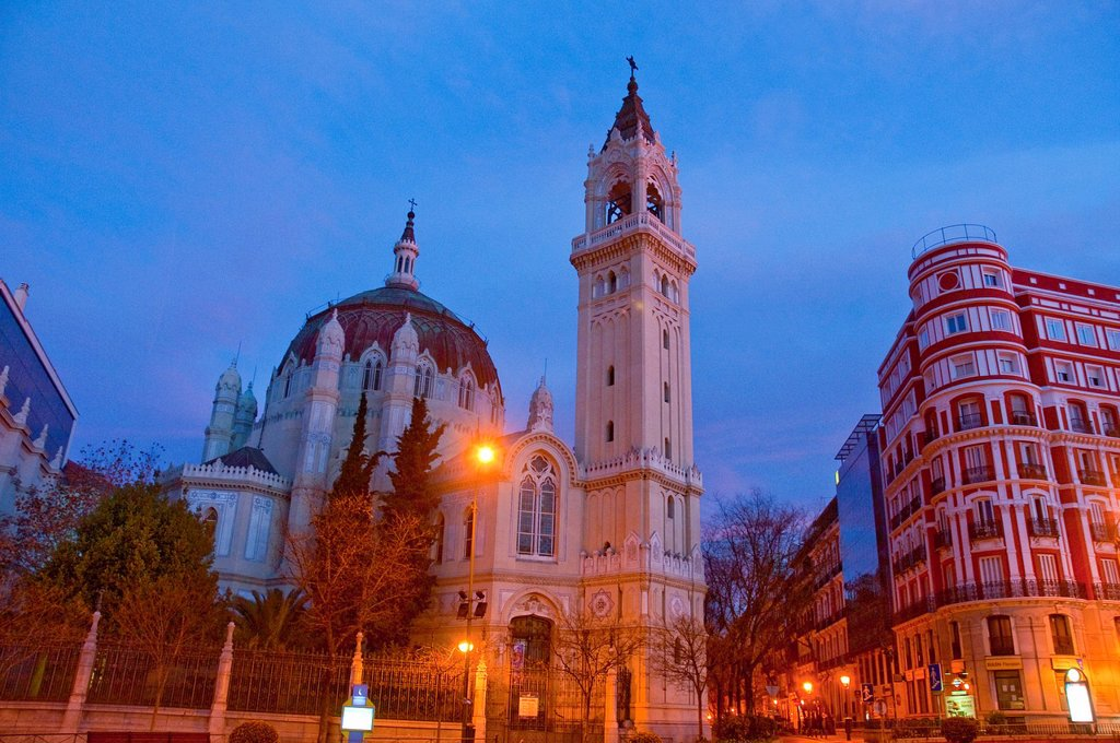 San Manuel y San Benito church at dawn. Madrid, Spain. : Stock Photo