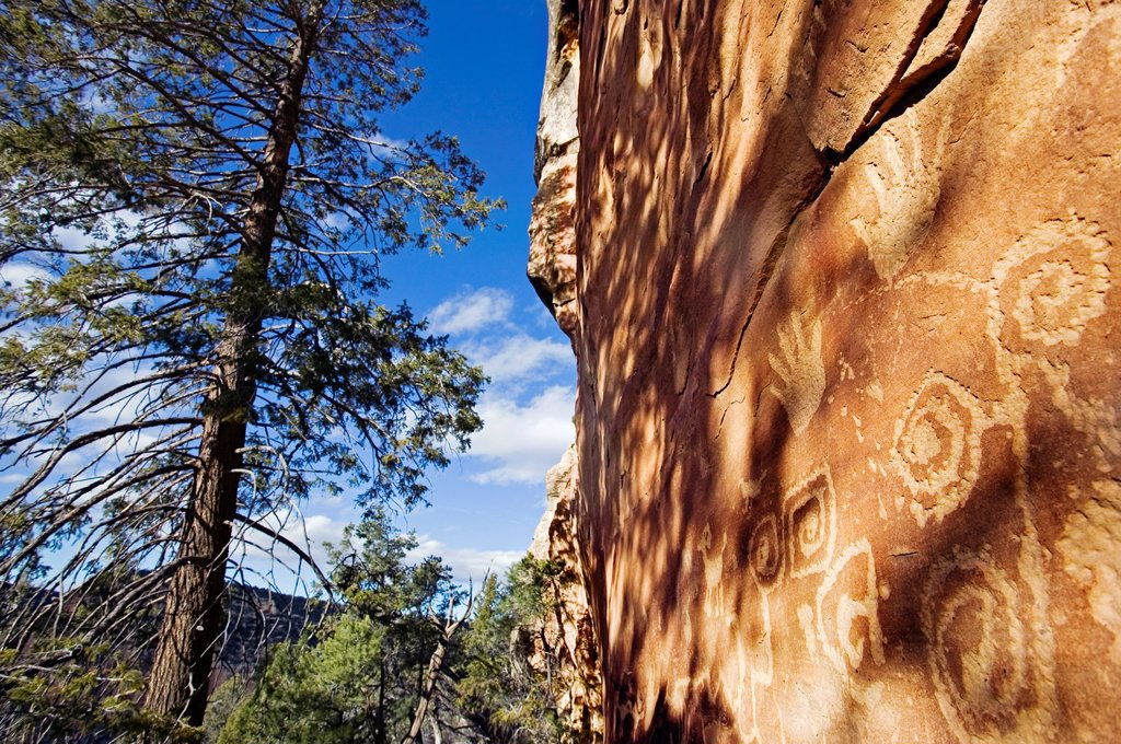 Anasazi petroglyphs at Mesa Verde National Park, Colorado, USA. : Stock Photo