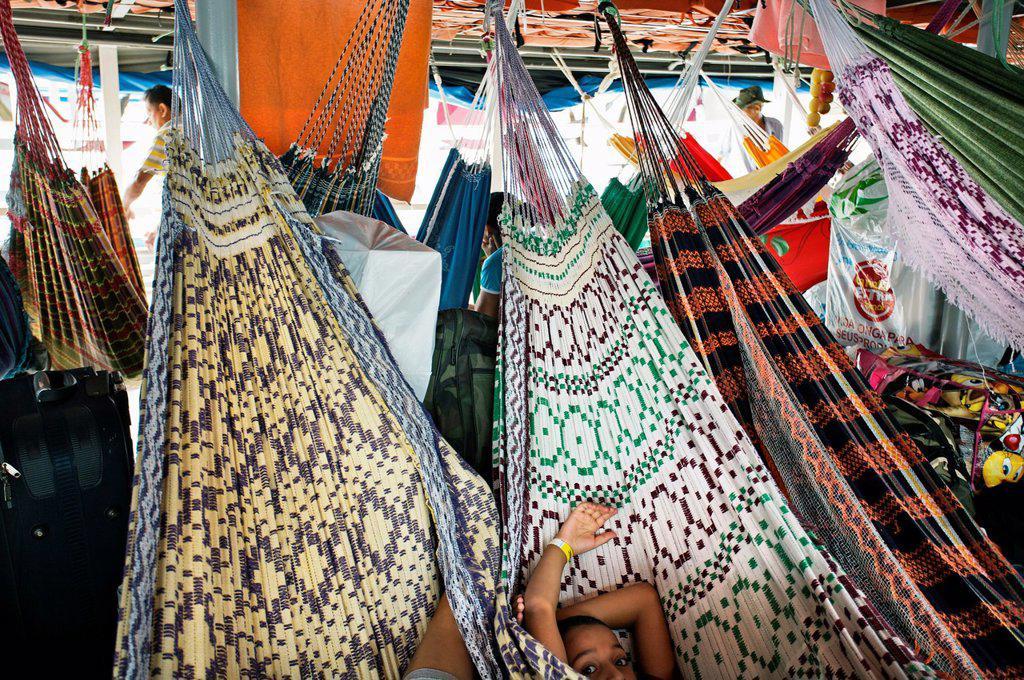 Stock Photo: 1566-1028142 Passengers ship, Port of Manaus  Amazonas state, the Amazon, Brazil.