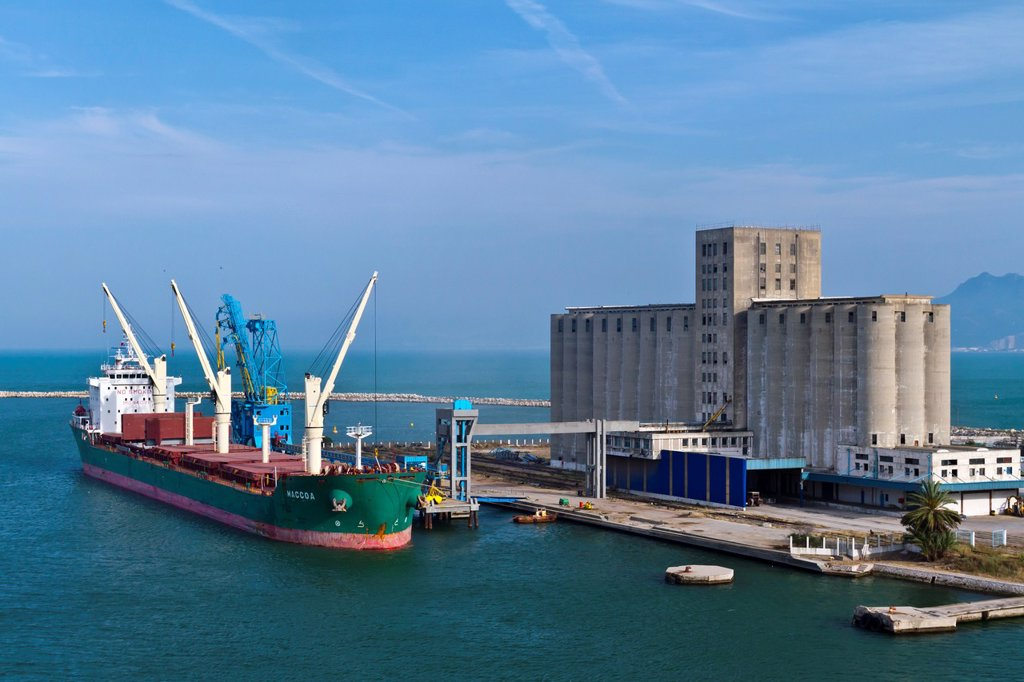 Stock Photo: 1566-1028196 A cargo ship being loaded at the Tunisian Port of La Goulette