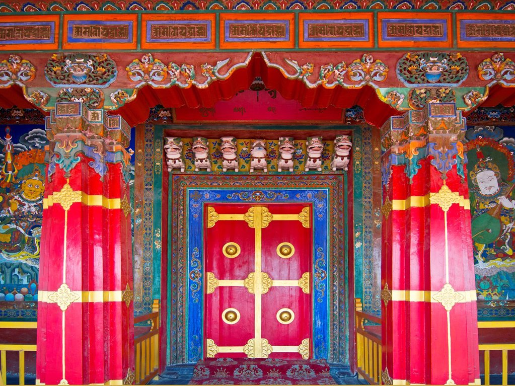 Stock Photo: 1566-1028620 Door  Jokhang Temple  China Nationalities Museum  China is the home to 56 ethnic groups  Various ethnic groups present different kinds of living styles and customs, all contributing to China´s vibrant culture  Surrounded by the North 3rd Ring Road, Jingch. Door  Jokhang Temple  China Nationalities Museum  China is the home to 56 ethnic groups  Various ethnic groups present different kinds of living styles and customs, all contributing to China´s vibrant culture  Surrounded by the North 3rd Ring