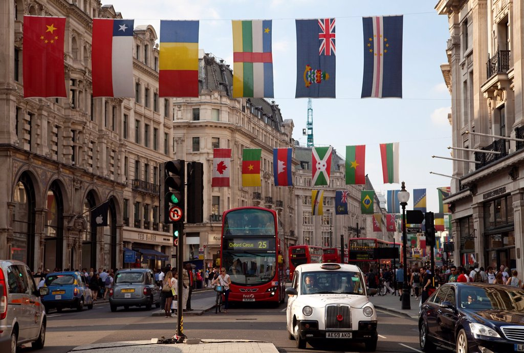 Stock Photo: 1566-1028846 Regent Street with flags up During Olympics - London UK