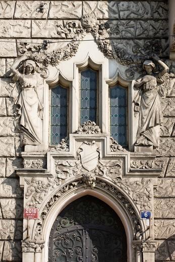 ART NOUVEAU FACADE MAZARYKOVO STREET OLD TOWN STARE MESTO PRAGUE CZECH REPUBLIC : Stock Photo