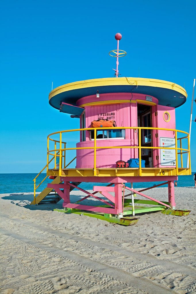 Stock Photo: 1566-1028968 Lifeguard stand in South Beach, Art deco district, Miami beach, Florida, USA.