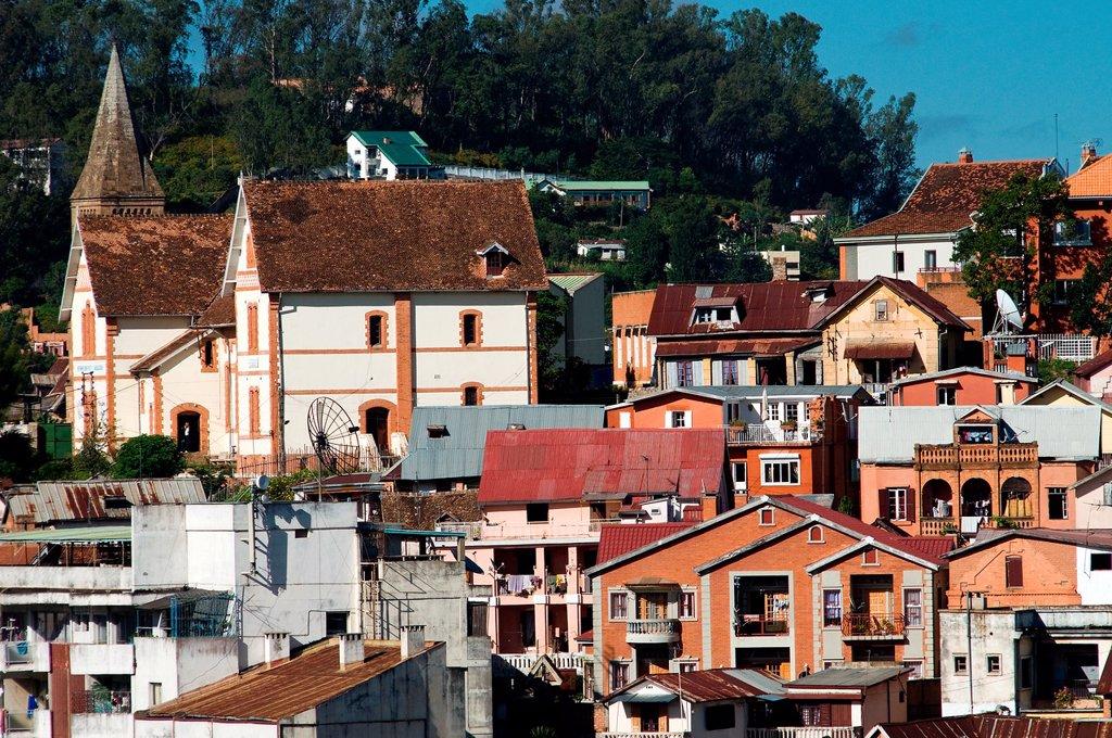 Southern Hill architecture, Antananarivo, Madagascar : Stock Photo