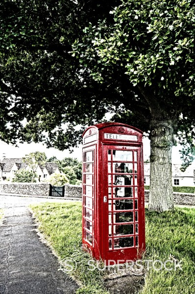 telephone box in the country : Stock Photo