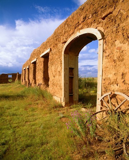 Mechanic´s Yard, Fort Union, Founded 1851 to guard travelers along the Santa Fe Trail Fort Union National Monument, New Mexico : Stock Photo