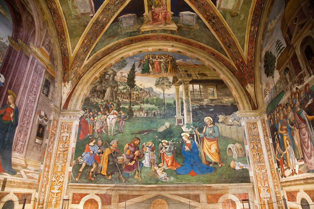 Stock Photo: 1566-1029949 europe, italy, umbria, spello, st maria maggiore church, cappella baglioni, frescoes by pinturicchio