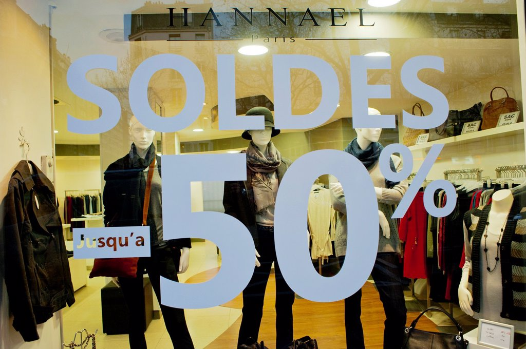Paris, France, January Sales in Small Business Shops, Store Windows Signs : Stock Photo