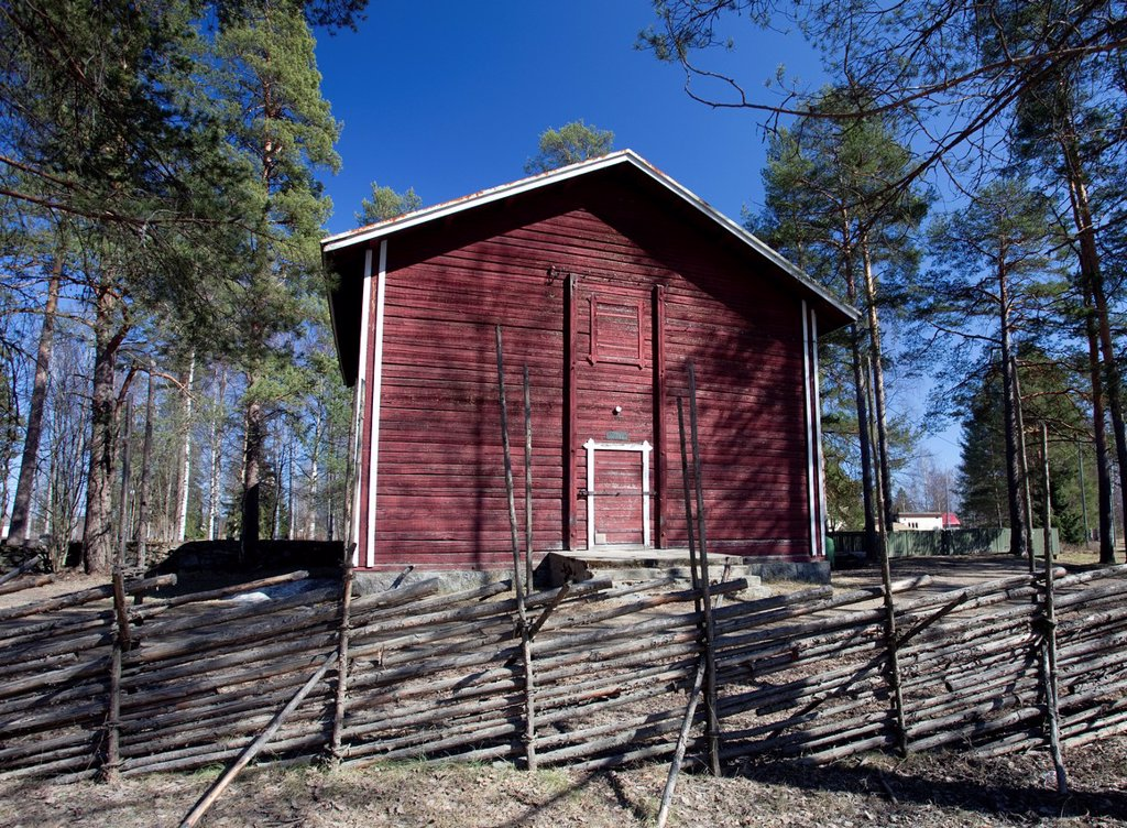 Old wooden granary, made of logs and painted with red ochre paint  It is currently used as a small museum  Location Suonenjoki Finland Scandinavia Europe : Stock Photo