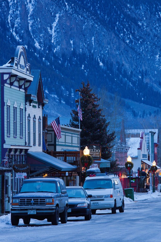 Stock Photo: 1566-1030211 USA, Colorado, Crested Butte, historic buildings along Elk Avenue, winter, dawn
