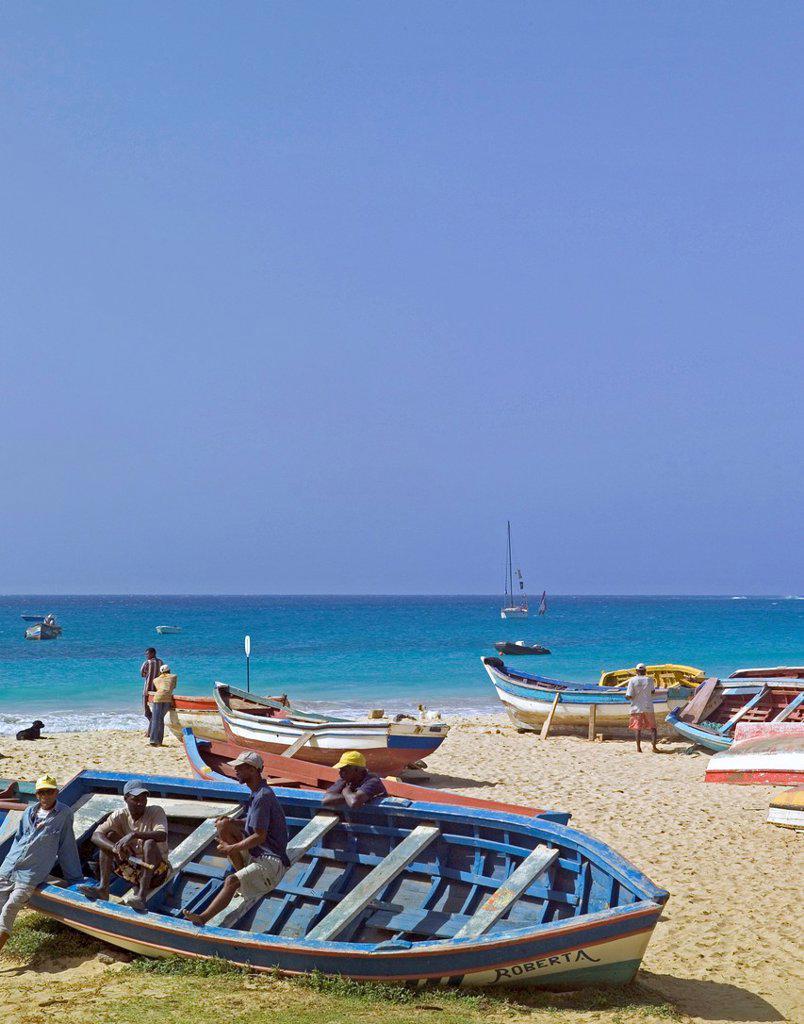 Stock Photo: 1566-1030869 Fishing boats on beach Santa Maria, Island of Sal, Cape Verde
