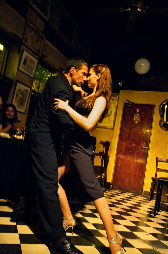 Tango dancers at Bar Sur, San Telmo District, Buenos Aires, Argentina. : Stock Photo
