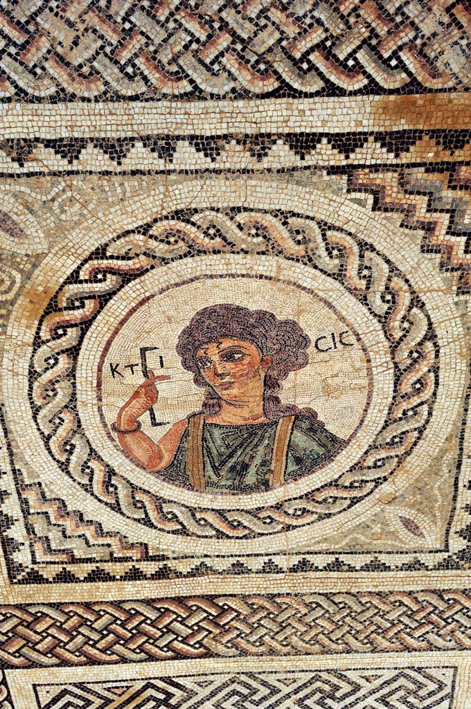 Stock Photo: 1566-1031072 Roman mosaic of the AD 4th C, depicting Ktisis, personification of the act of foundation and architectural art: she holds the instrument for the Roman one-foot measure, Complex of Eustolios, Kourion, Cyprus, Eastern Mediterranean Sea