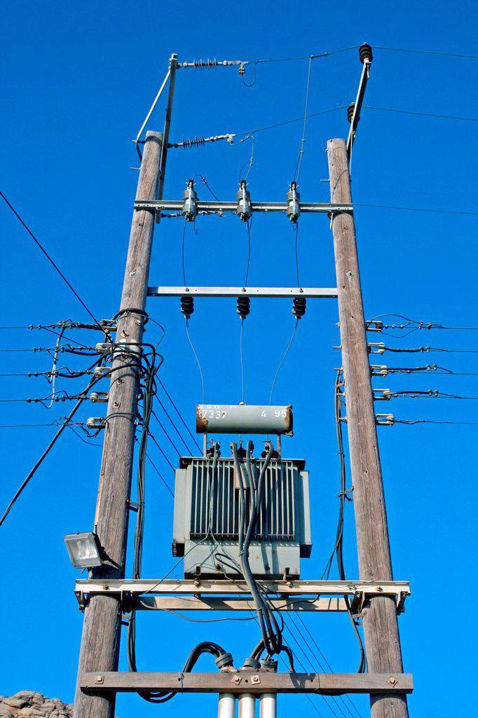 electric transformer, Mykonos, Greece : Stock Photo