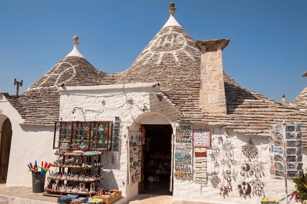 Stock Photo: 1566-1031538 Traditional La Bottega dell Artigiano trulli shop, Rione Monti, Alberobello, Bari province, Puglia region, Italy
