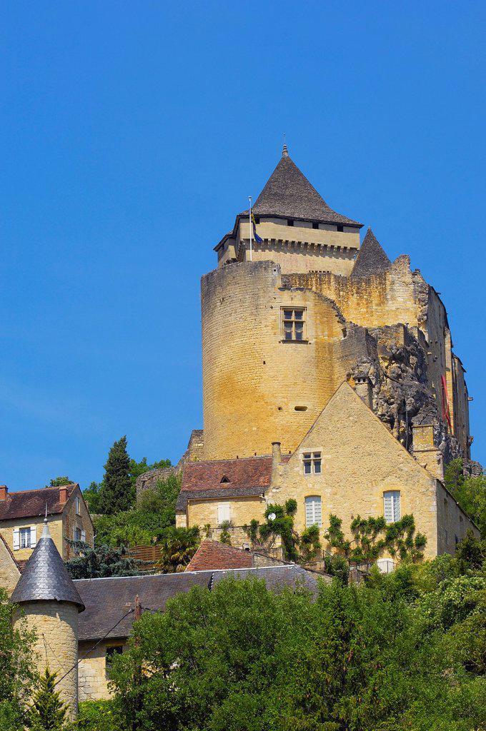 Castle, Castelnaud la Chapelle, Perigord, Dordogne valley, Perigord Noir, Aquitaine, France, Europe : Stock Photo