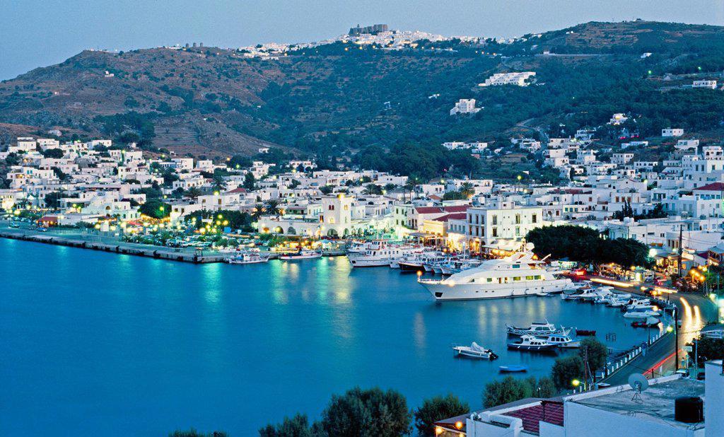 Harbour, Skala  Patmos Island  Dodecanese  Greece. : Stock Photo