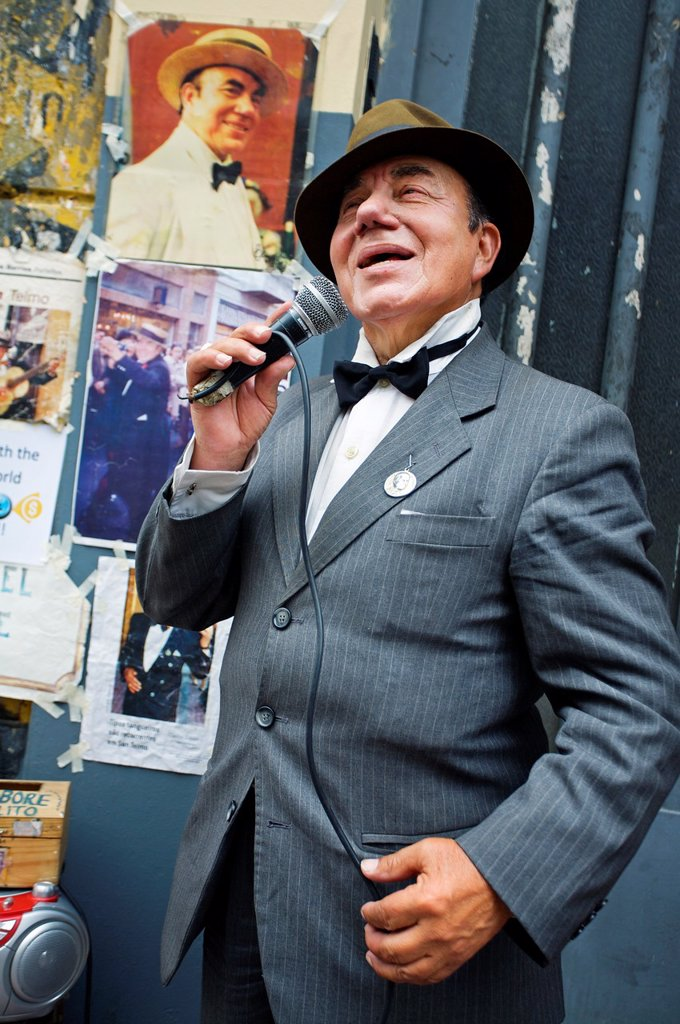 Stock Photo: 1566-1032903 Showman at the San Telmo antique street market, Buenos Aires, Argentina.