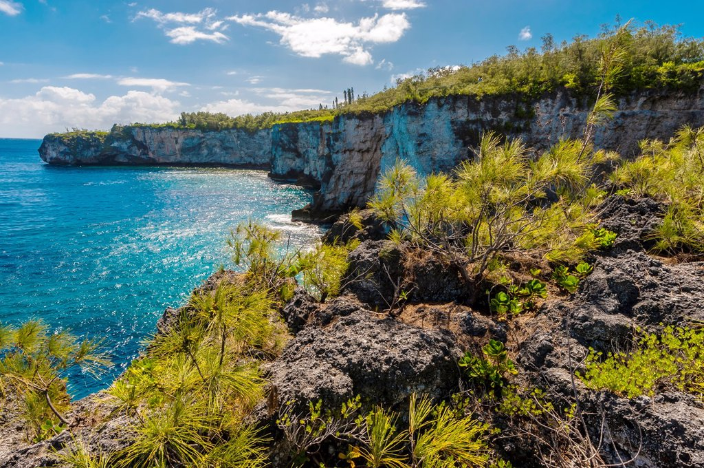 Warrior´s Leap cliffs, Island of Mare, Loyalty Islands, New Caledonia : Stock Photo