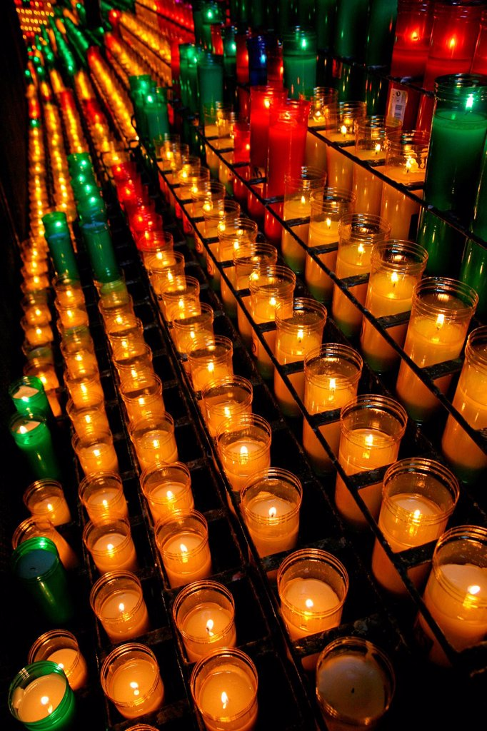 Stock Photo: 1566-1033443 candles, Abbey Basilica of the Virgin of Montserrat, Catalonia, Spain