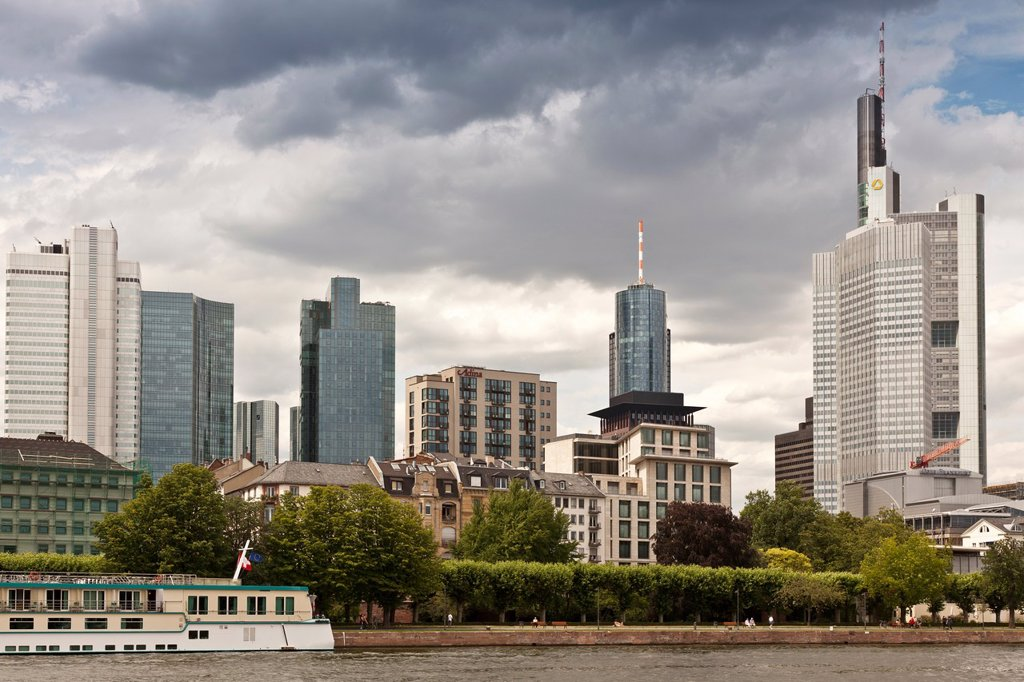 Germany, Frankfurt, downtown buildings and the Main river : Stock Photo