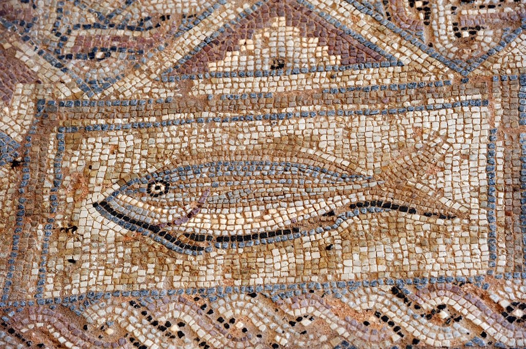 mosaic in the Complex of Eustolios at Kourion, Cyprus, Eastern Mediterranean Sea : Stock Photo