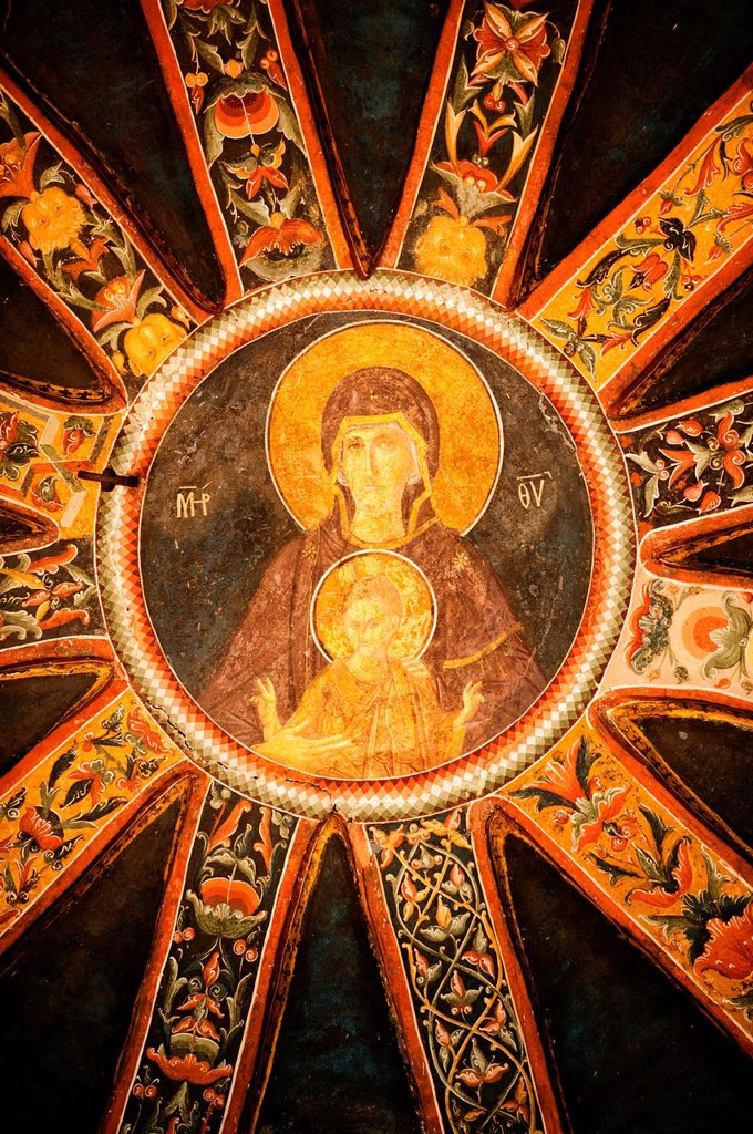The Virgin and the Child, Parecclesion dome, Church of the Holy Saviour in Chora or Kariye Camii, Istanbul, Turkey : Stock Photo
