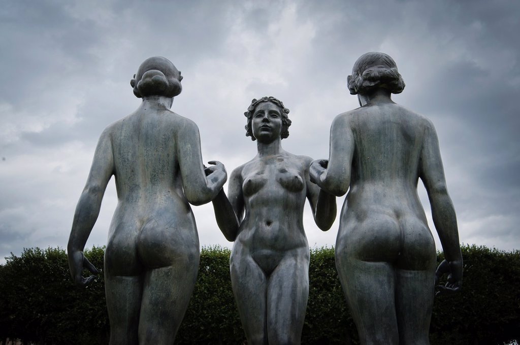 Stock Photo: 1566-1034366 Trois Nymphes sculpture by Aristide Maillol in the Tuileries, Paris, France