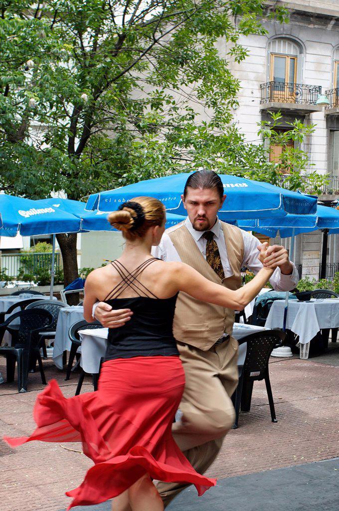 Tango Dancers, Plaza Dorego, San Telmo District, Buenos Aires, Argentina. : Stock Photo