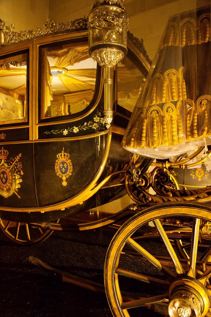 Detail on 18th century royal carriage on display in the coach room, Chateau Chambord, Loire Valley, Centre France : Stock Photo