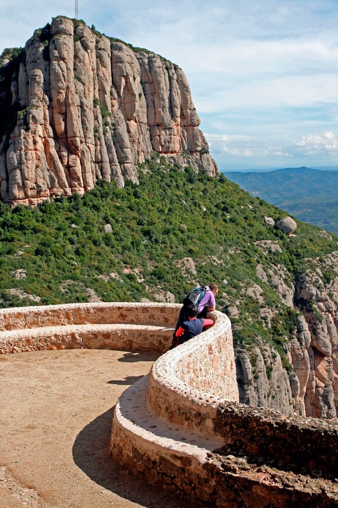 Stock Photo: 1566-1035529 viewpoint, Cami de la Cova, Montserrat, Catalonia, Spain