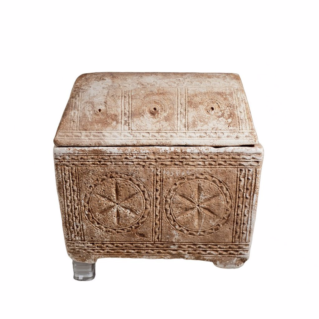 Stock Photo: 1566-1035898 Jewish limestone Ossuary with vaulted lid decorated with Rosettes, concentric circles and arches 1st century CE