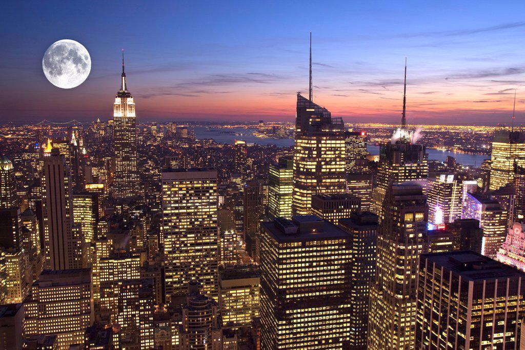 Stock Photo: 1566-1036155 MIDTOWN SKYLINE MANHATTAN NEW YORK CITY USA