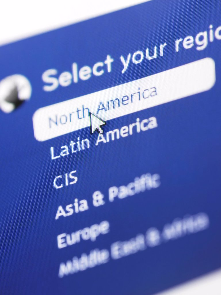 Stock Photo: 1566-1036327 Selecting region from a web site localization menu