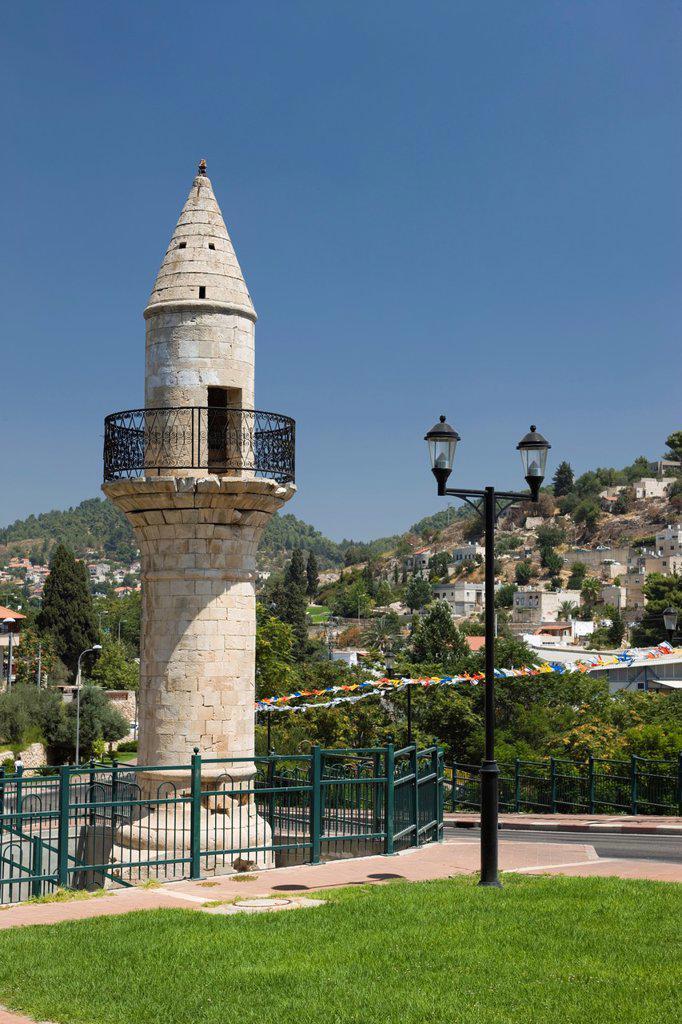 Stock Photo: 1566-1036580 MINERET MOSQUE SAFED OLD HILLTOP VILLAGE UPPER GALILEE ISRAEL