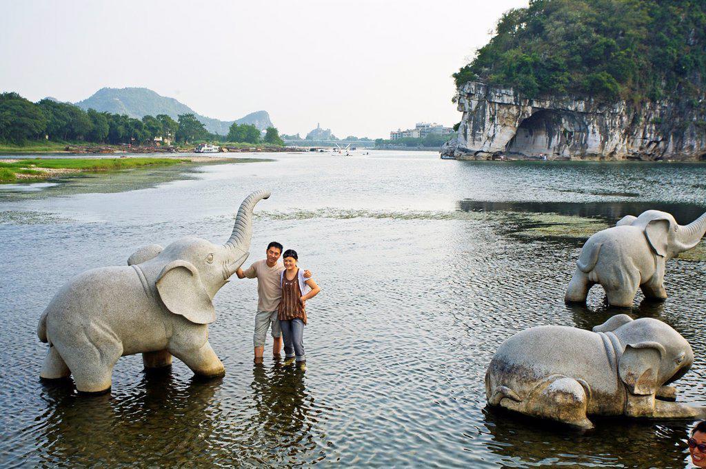Stock Photo: 1566-1037032 Elephant trunk hill  Guilin, Li River, Guangxi, China.