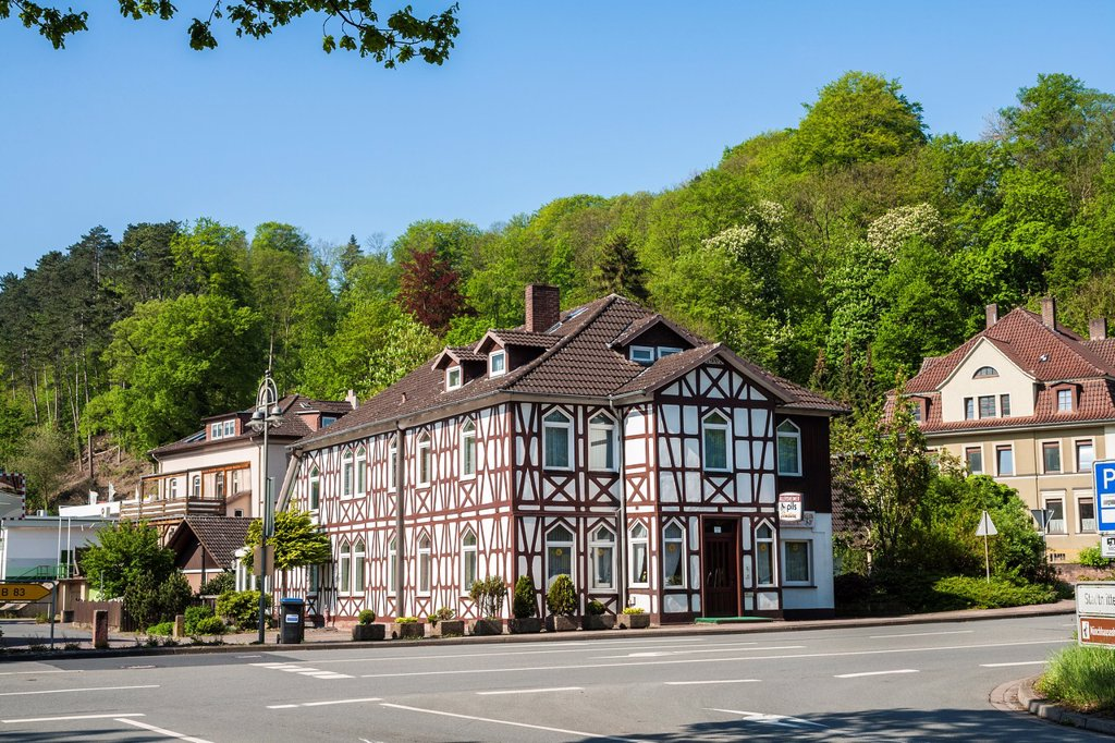 Stock Photo: 1566-1037555 Traditional houses in Bodenwerder on the German Fairy Tale Route, Lower Saxony, Germany, Europe