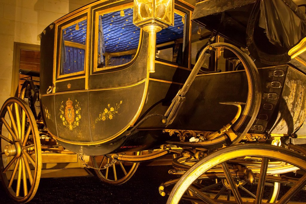 Stock Photo: 1566-1037720 Detail on 18th century royal carriage on display in the coach room, Chateau Chambord, Loire Valley, Centre France