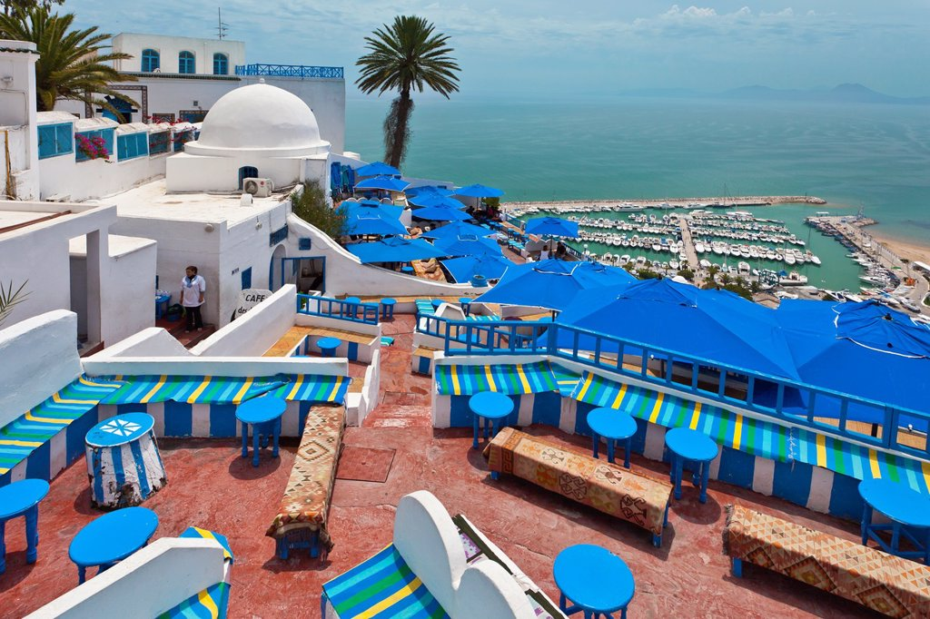 A Cafe restaurant and Cafe in Sidi Bou Said, Tunisia. : Stock Photo