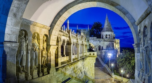Details of the Fisherman´s Bastion Halászbástya, a terrace in neo-Gothic and neo-Romanesque style situated on the Buda bank of the Danube, on the Castle hill : Stock Photo