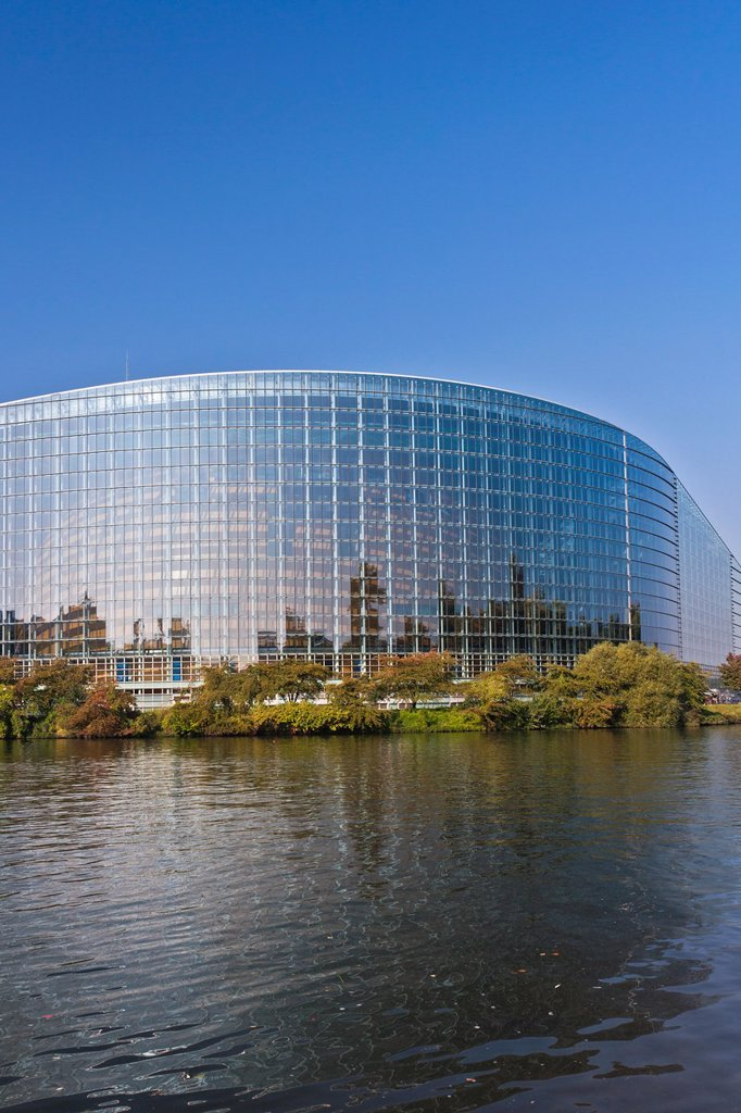 Building of the European Parliament, Strasbourg, Alsace, France, Europe : Stock Photo