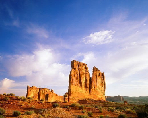 Courthouse Towers with the Organ and Tower of Babel formations Sunrise Arches National Park, Utah : Stock Photo