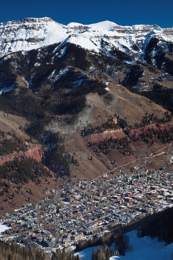 USA, Colorado, Telluride, elevated town view from Mountain Village Ski Area, morning : Stock Photo