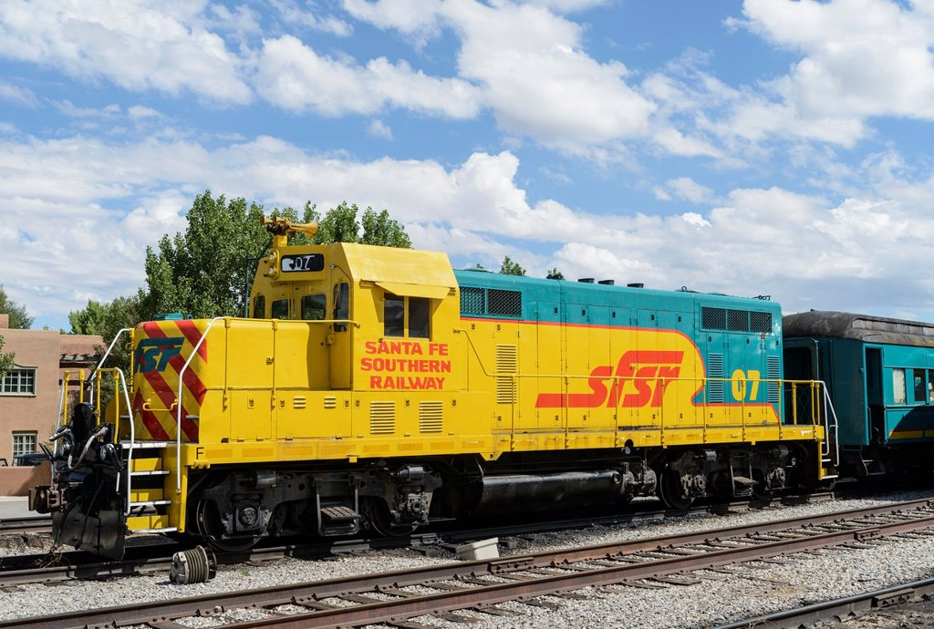 Stock Photo: 1566-1040914 Santa Fe Southern Railway diesel locomotive at Santa Fe railroad station, New Mexico, USA