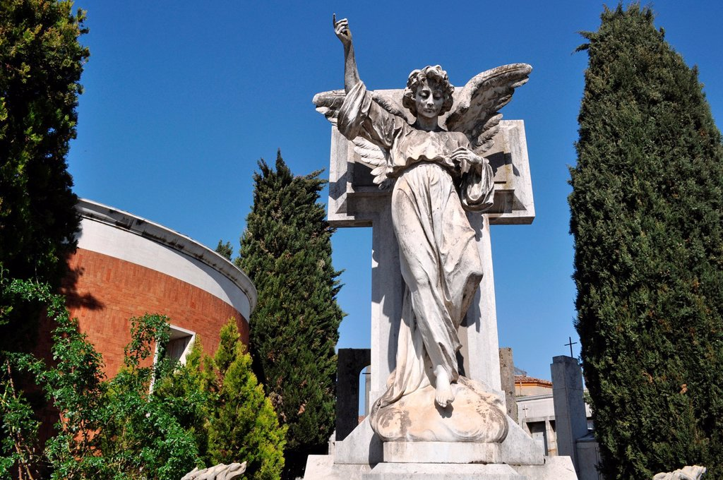 Stock Photo: 1566-1041099 Bologna, Italy: angel statue on a grave at Cemetery of Certosa